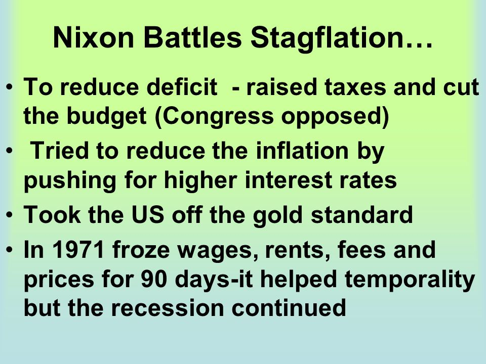 Nixon Battles Stagflation…