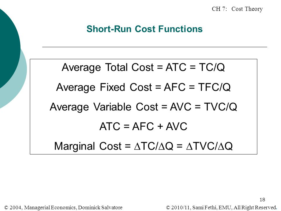 Short-Run Cost Functions