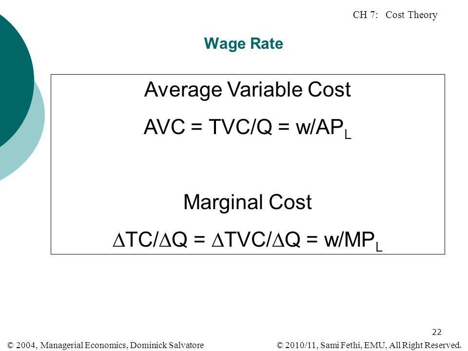 TC/Q = TVC/Q = w/MPL
