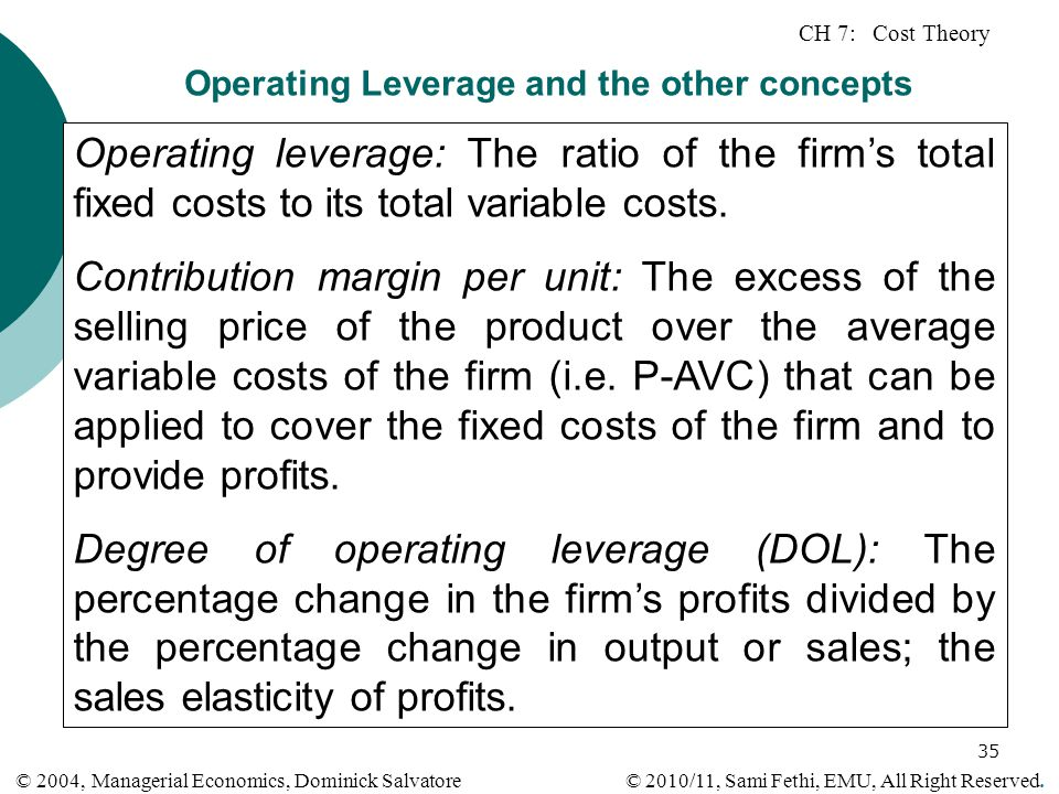 Operating Leverage and the other concepts
