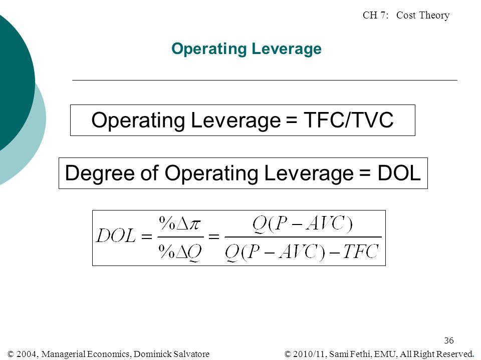 Operating Leverage = TFC/TVC