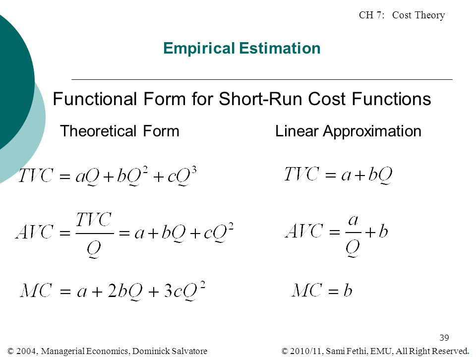 Functional Form for Short-Run Cost Functions