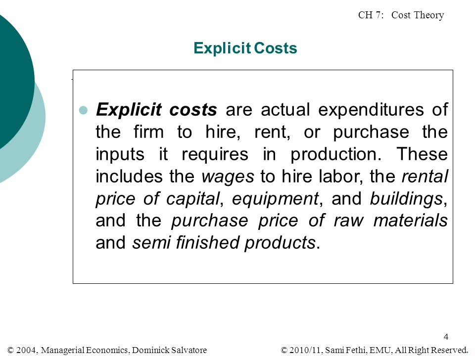 Explicit Costs