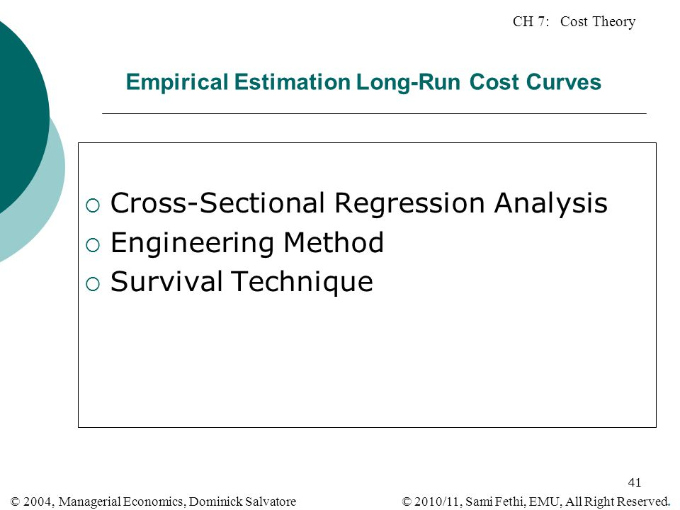 Empirical Estimation Long-Run Cost Curves
