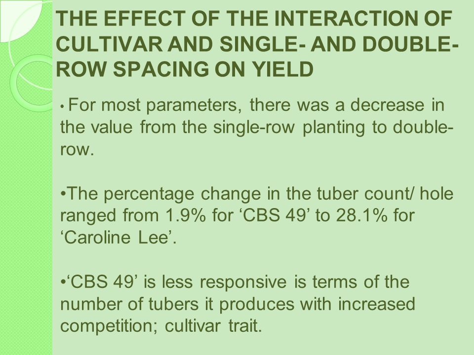 THE EFFECT OF THE INTERACTION OF CULTIVAR AND SINGLE- AND DOUBLE-ROW SPACING ON YIELD