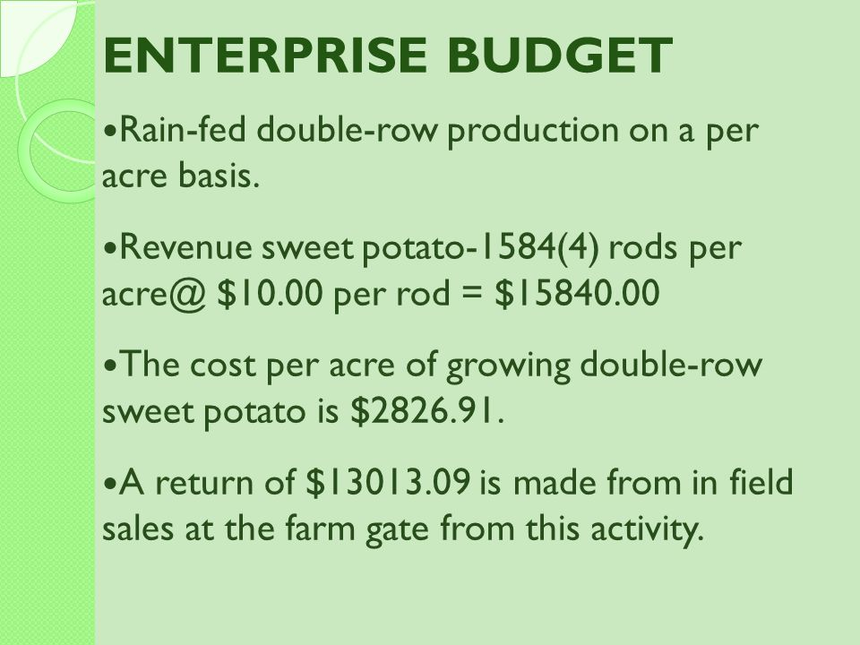 ENTERPRISE BUDGET Rain-fed double-row production on a per acre basis.