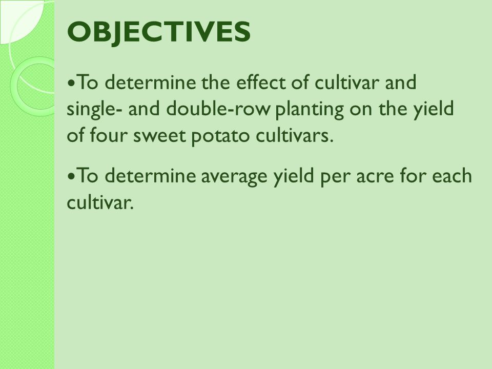 OBJECTIVES To determine the effect of cultivar and single- and double-row planting on the yield of four sweet potato cultivars.