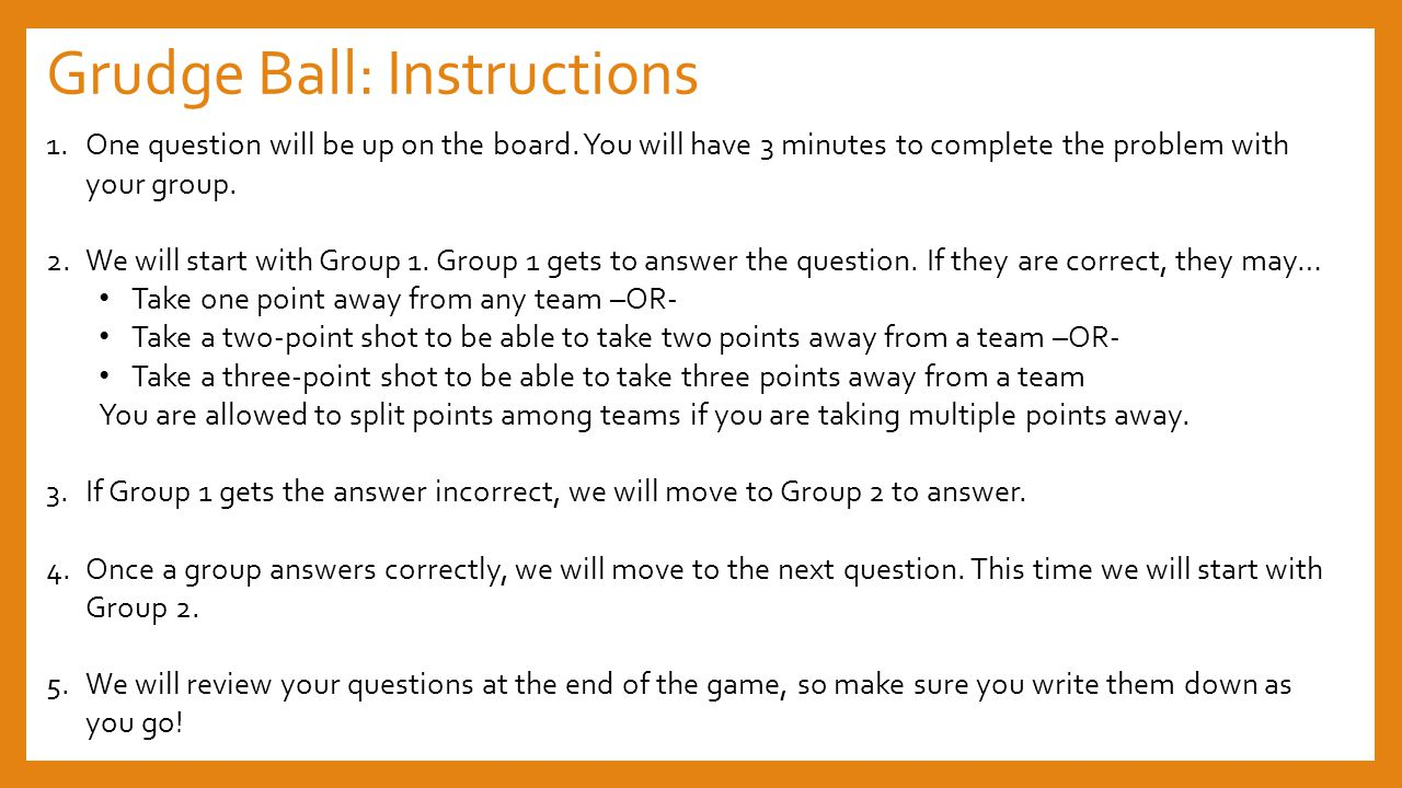 Grudge Ball: Instructions