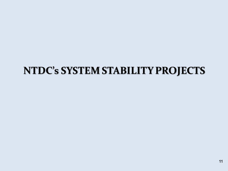 NTDC's SYSTEM STABILITY PROJECTS