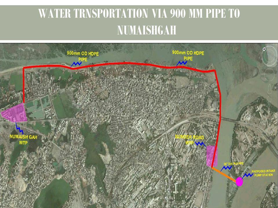 WATER TRNSPORTATION VIA 900 MM PIPE TO NUMAISHGAH