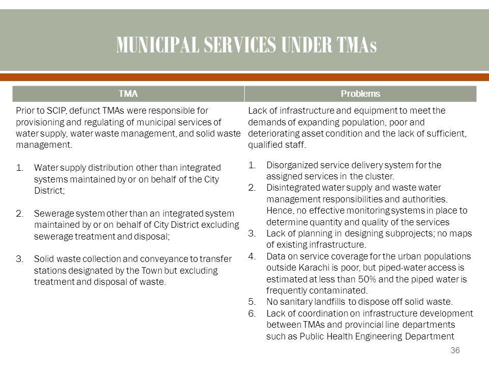 MUNICIPAL SERVICES UNDER TMAs
