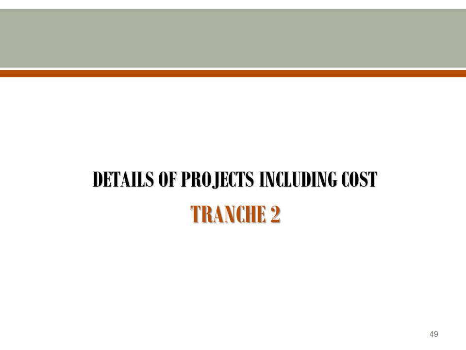 DETAILS OF PROJECTS INCLUDING COST