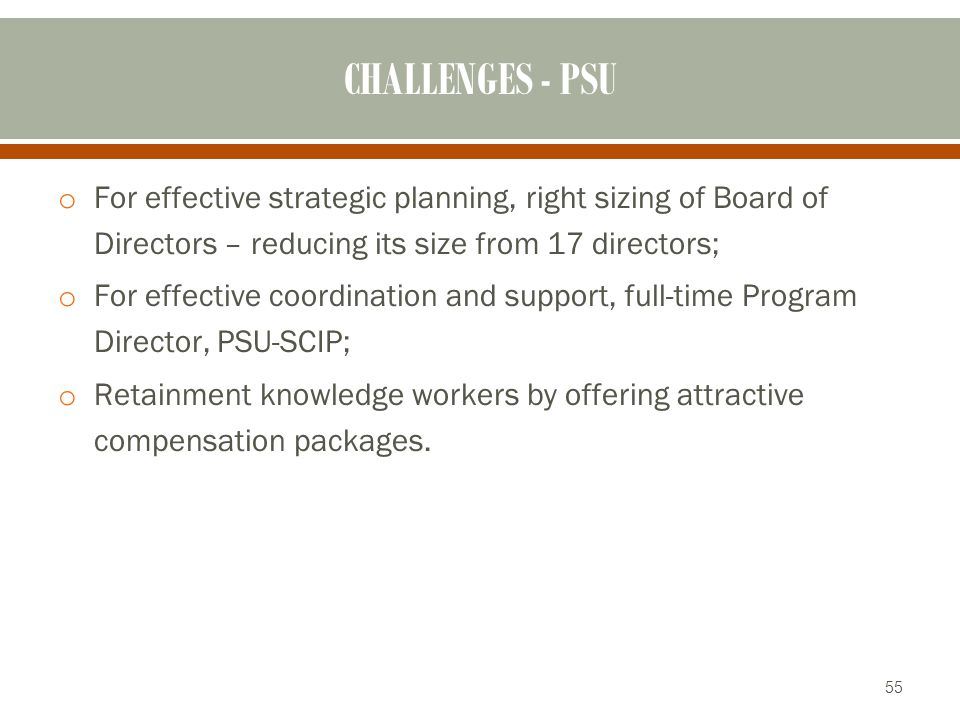 CHALLENGES - PSU For effective strategic planning, right sizing of Board of Directors – reducing its size from 17 directors;
