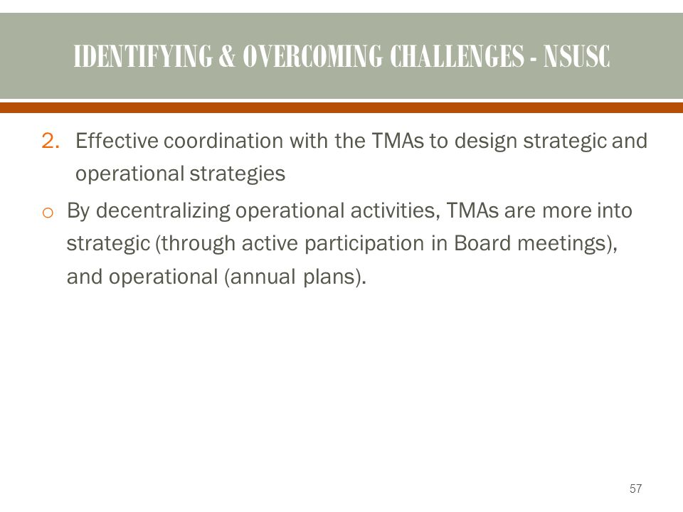 IDENTIFYING & OVERCOMING CHALLENGES - NSUSC