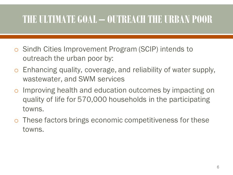 THE ULTIMATE GOAL – OUTREACH THE URBAN POOR