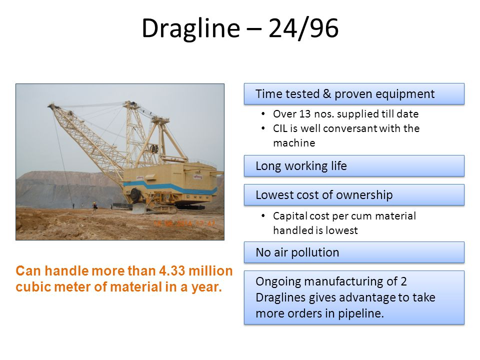 Dragline – 24/96 Time tested & proven equipment Long working life