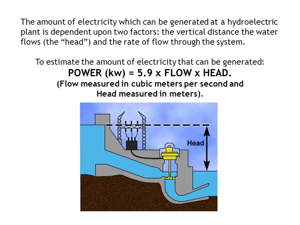 POWER (kw) = 5.9 x FLOW x HEAD.
