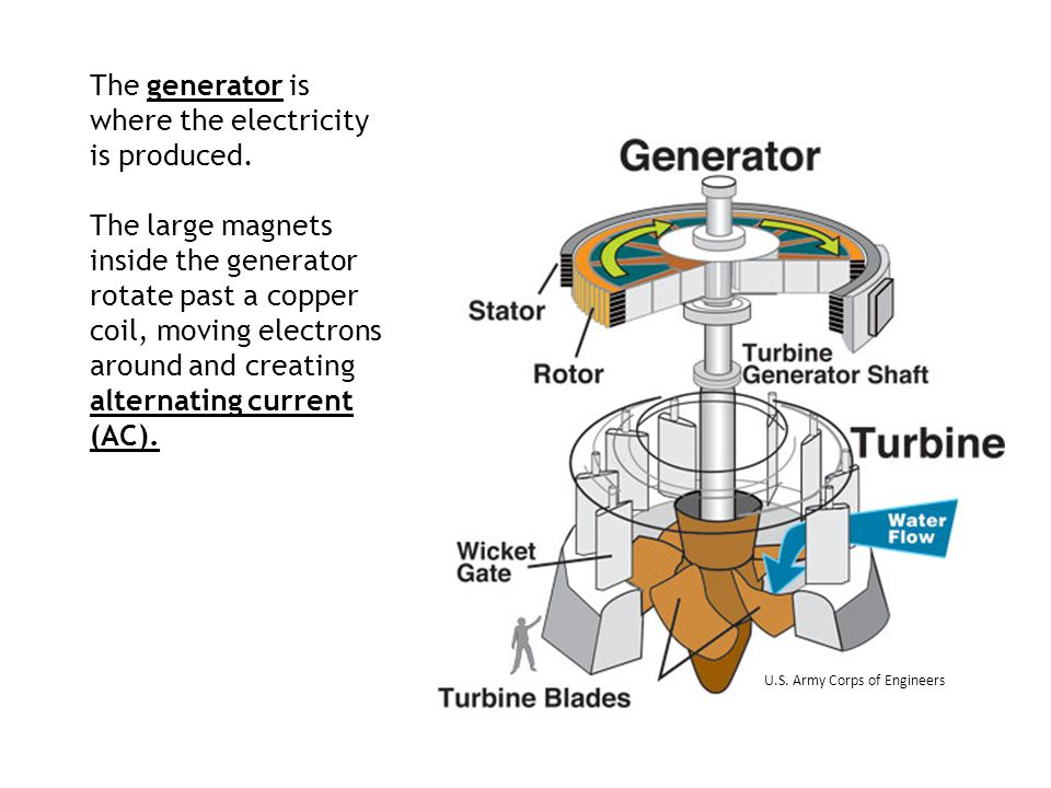The generator is where the electricity is produced.
