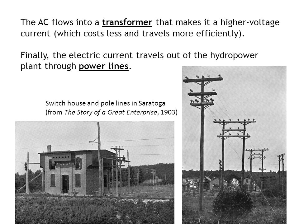 The AC flows into a transformer that makes it a higher-voltage current (which costs less and travels more efficiently).