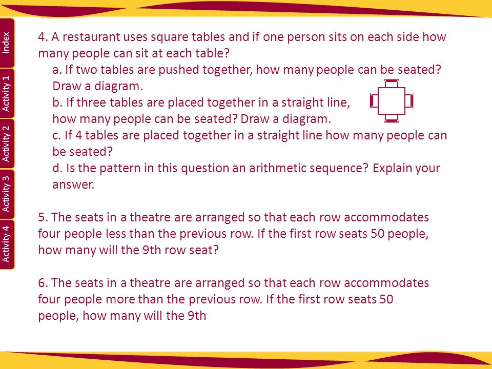 4. A restaurant uses square tables and if one person sits on each side how many people can sit at each table