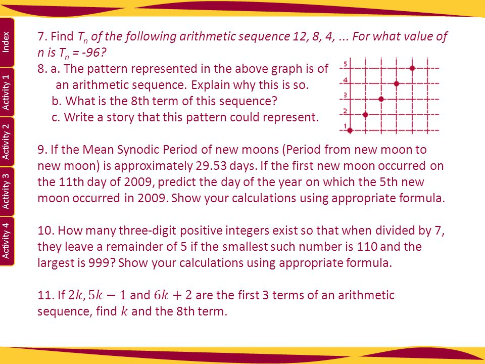 7. Find Tn of the following arithmetic sequence 12, 8, 4,