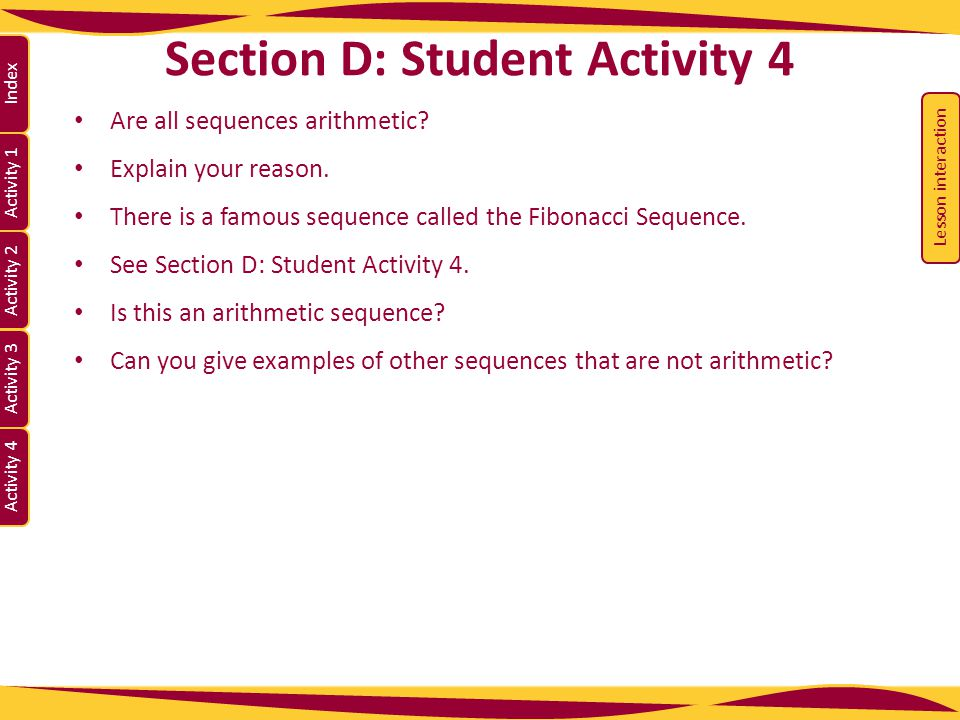 Section D: Student Activity 4