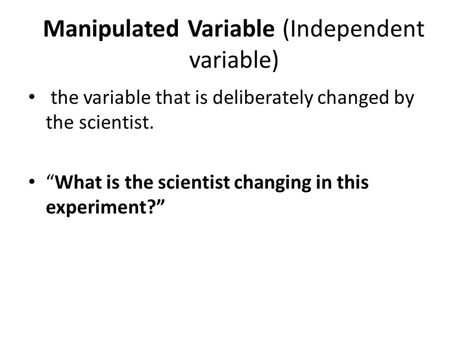 Manipulated Variable (Independent variable)