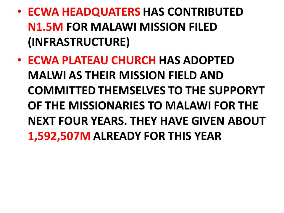 ECWA HEADQUATERS HAS CONTRIBUTED N1