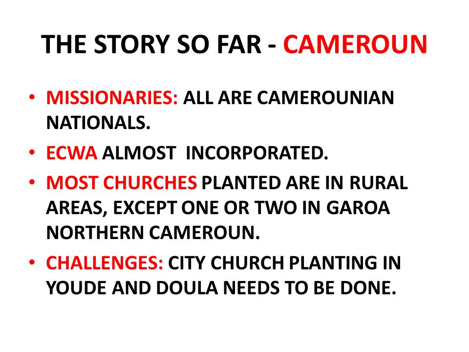 THE STORY SO FAR - CAMEROUN