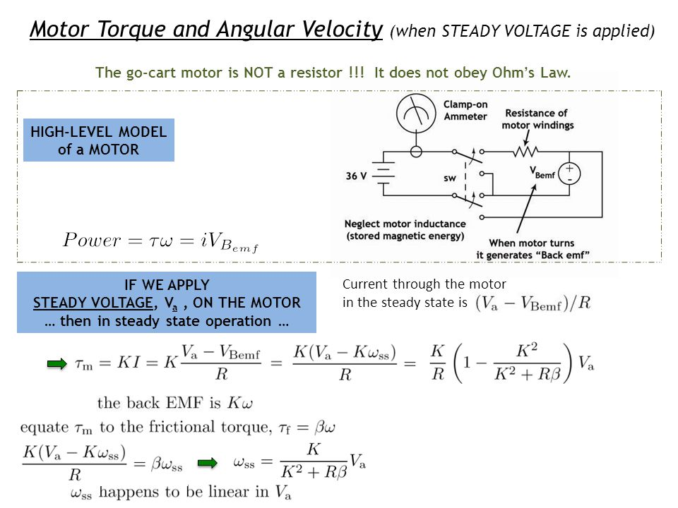 Motor Torque and Angular Velocity (when STEADY VOLTAGE is applied)