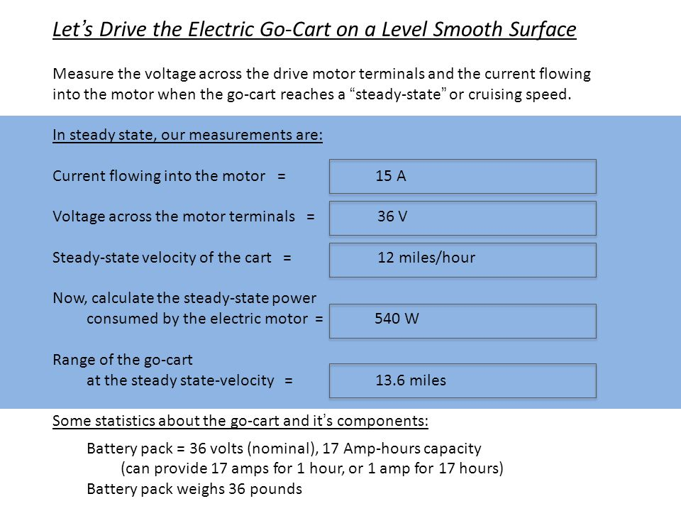 Let's Drive the Electric Go-Cart on a Level Smooth Surface