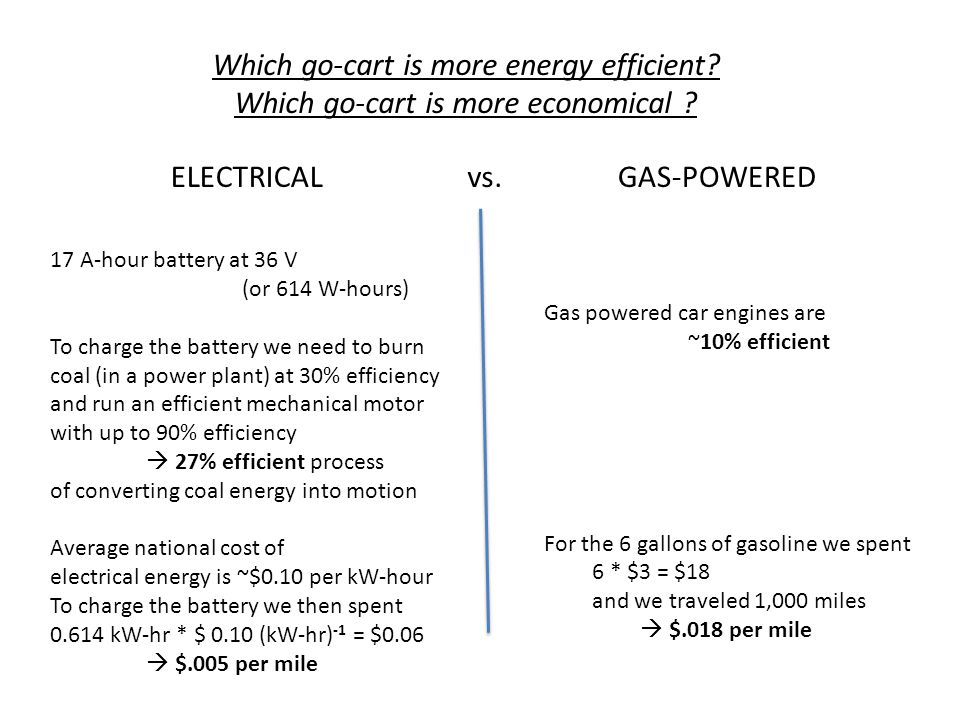 Which go-cart is more energy efficient
