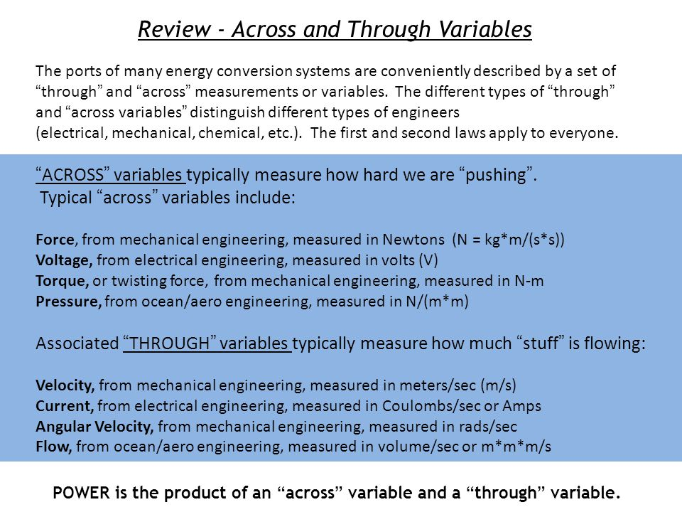 Review - Across and Through Variables