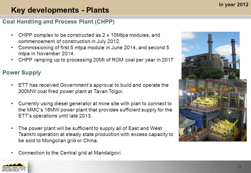 Key developments - Plants