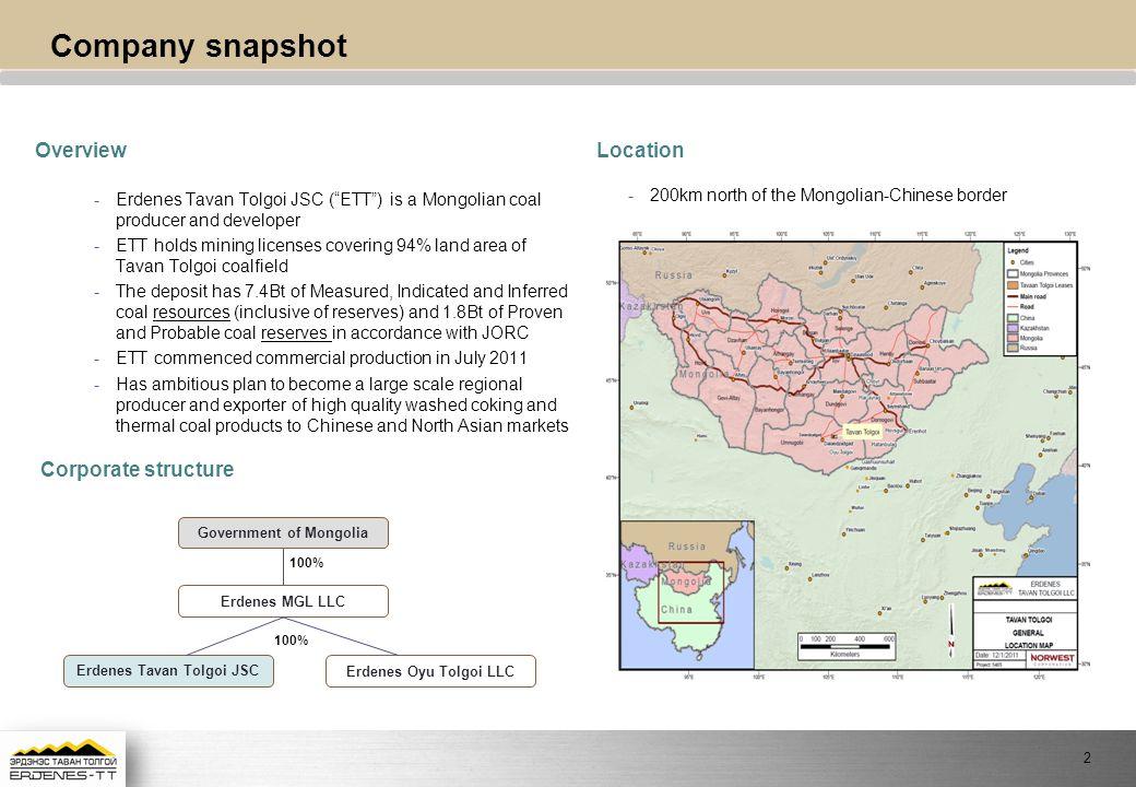 Government of Mongolia Erdenes Tavan Tolgoi JSC