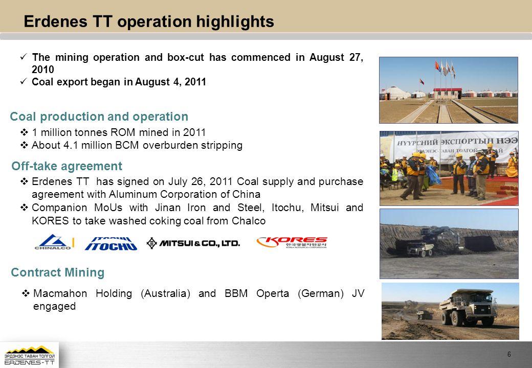 Erdenes TT operation highlights