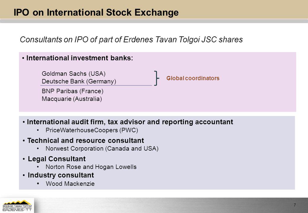 IPO on International Stock Exchange
