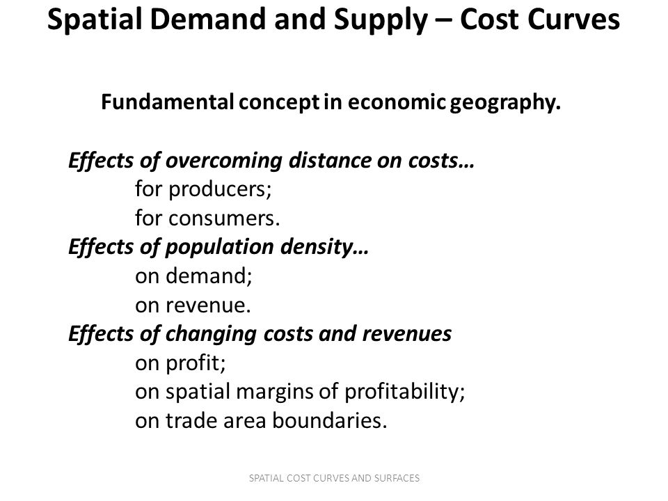 Spatial Demand and Supply – Cost Curves