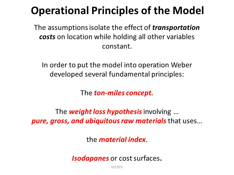 Operational Principles of the Model
