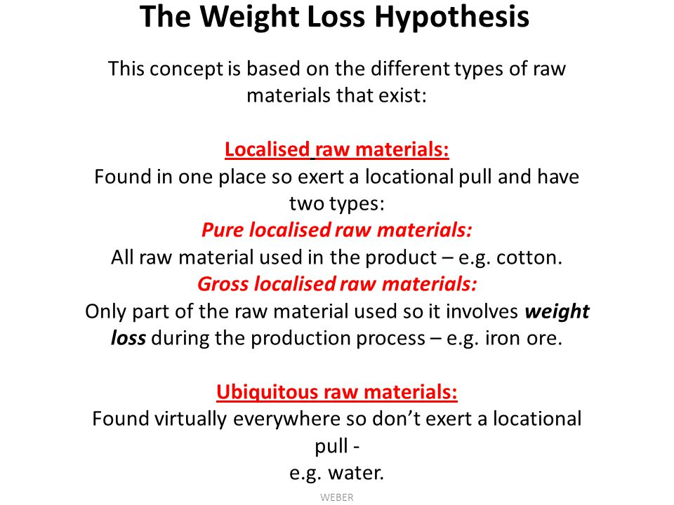 The Weight Loss Hypothesis