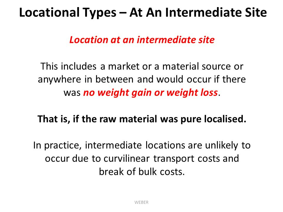 Locational Types – At An Intermediate Site