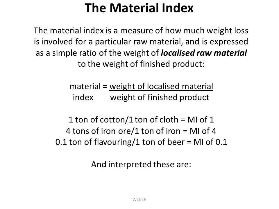The Material Index