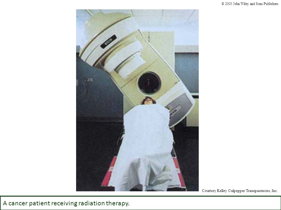 A cancer patient receiving radiation therapy.