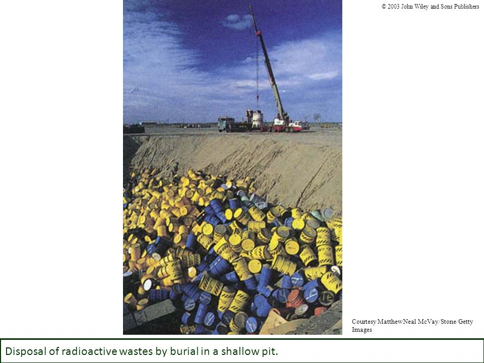 Disposal of radioactive wastes by burial in a shallow pit.