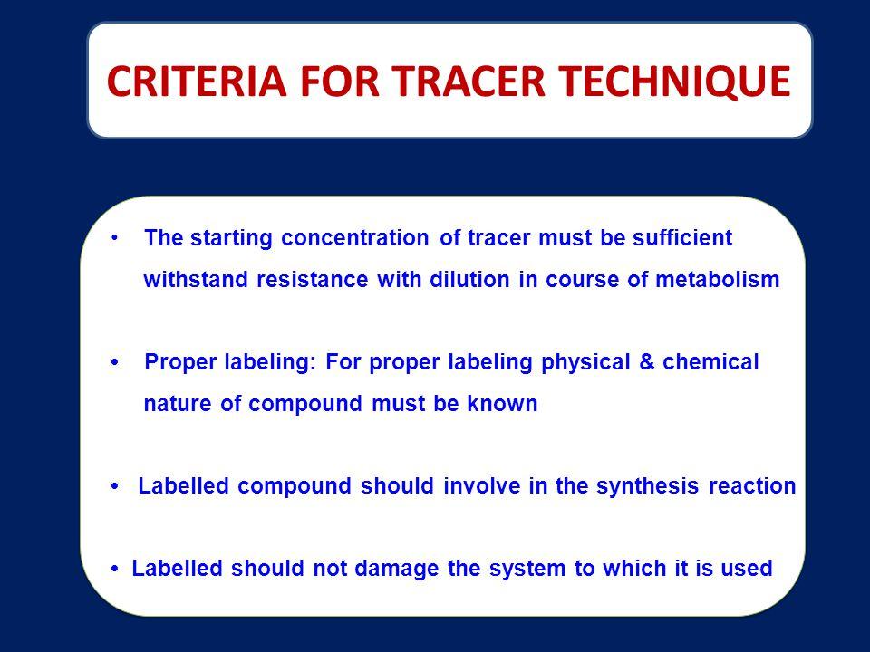 CRITERIA FOR TRACER TECHNIQUE