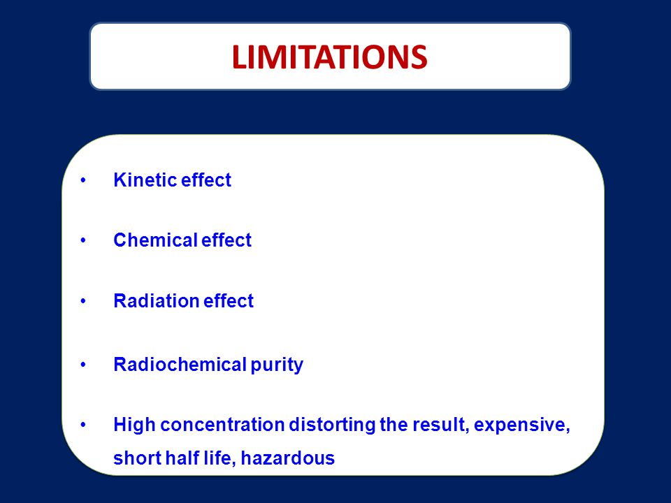 LIMITATIONS Kinetic effect Chemical effect Radiation effect