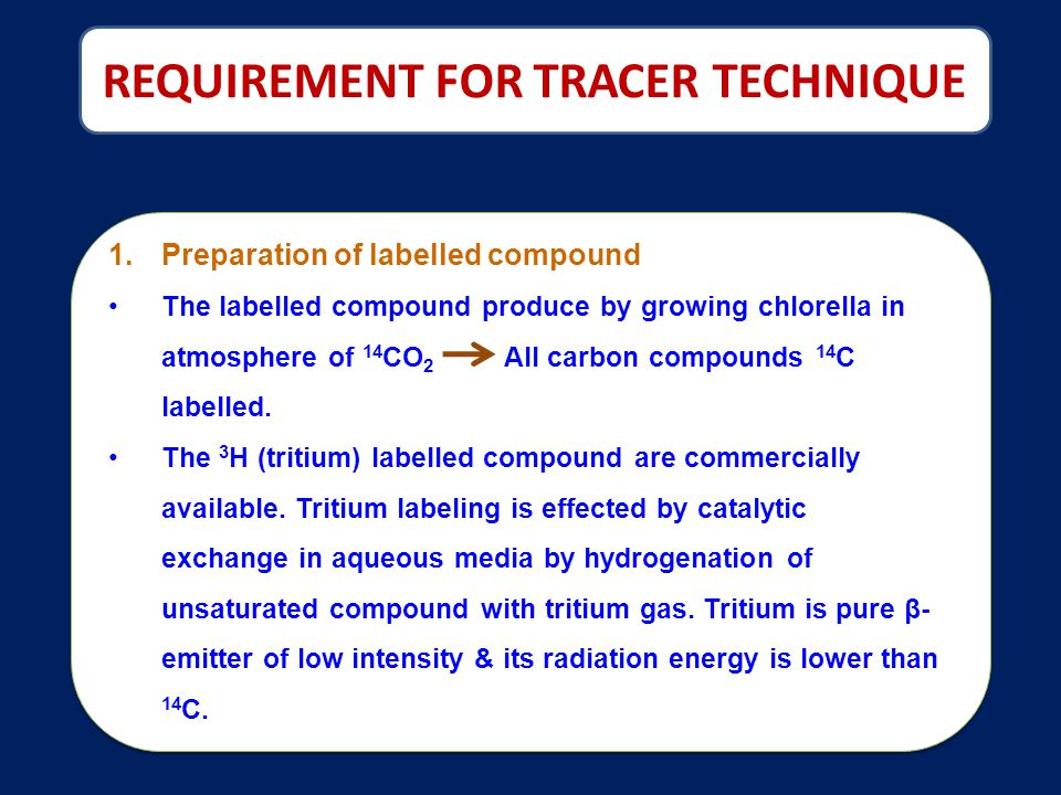 REQUIREMENT FOR TRACER TECHNIQUE