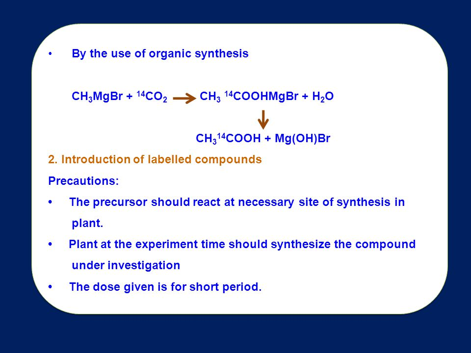 By the use of organic synthesis