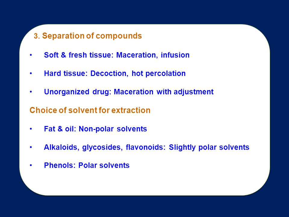 Choice of solvent for extraction