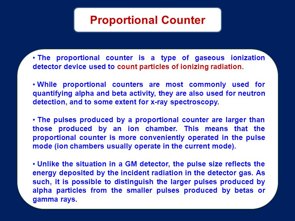 Proportional Counter The proportional counter is a type of gaseous ionization detector device used to count particles of ionizing radiation.